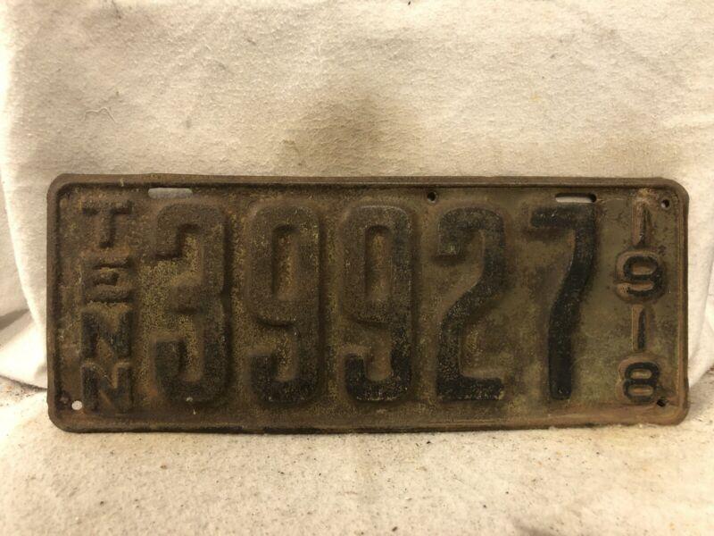 Vintage 1918 Tennessee License Plate