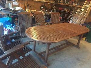 Teak large table with chairs