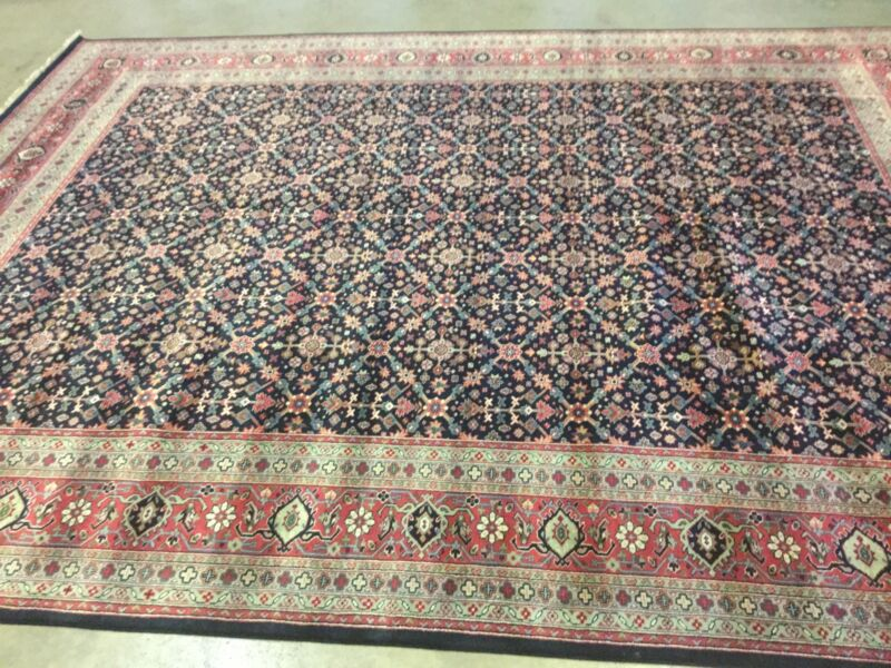 9 X 12 Navy Blue Rust Geometric Persian Oriental Area Rug Large Hand Knotted