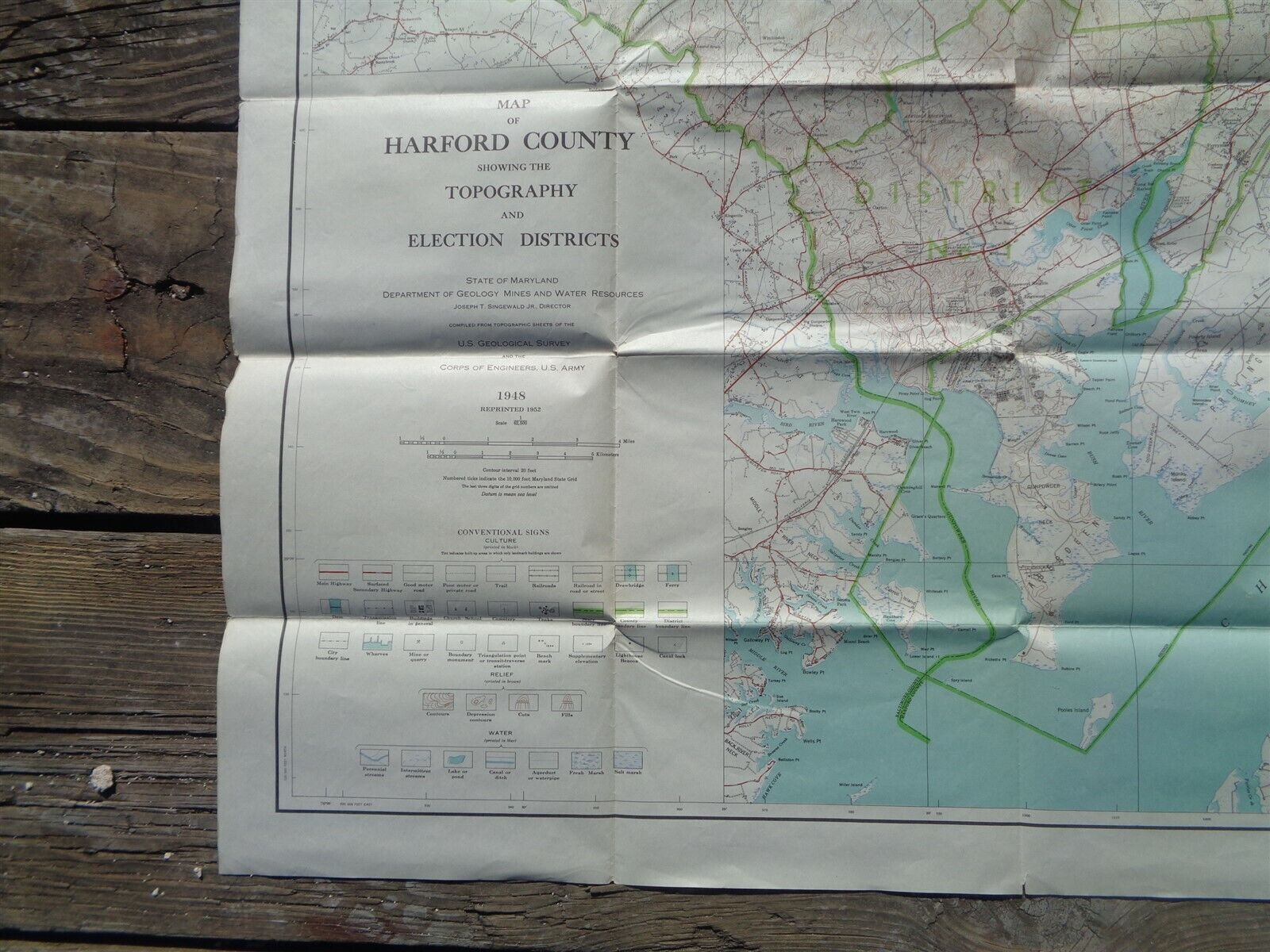 Details about Vintage 1948 LARGE MARYLAND MAP - HARFORD COUNTY Topography on marshall map, lafayette map, lipscomb map, mercer map, austin peay map, xavier map,