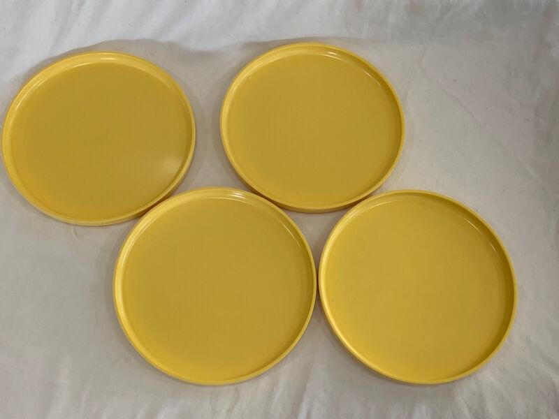 "Vintage Heller Yellow Melamine Salad Plates Set Of 4 7.5"""