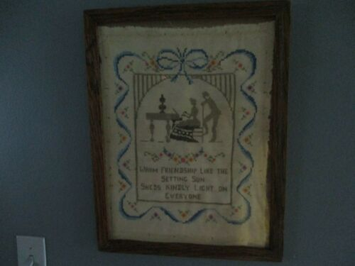 VINTAGE WARM FRIENDSHIPS EMBROIDERED SAMPLER FRAMED