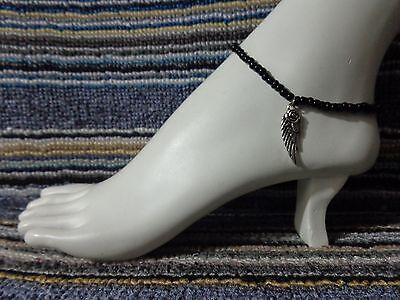 WING alloy charm ankle bracelet beads anklet stretchy silver beach wear rose
