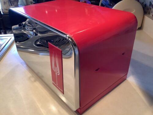 Vintage 1950's Beauty Box Red & Silver Chrome Bread Box w/ Cutting Board USA MCM