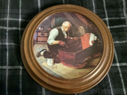 Grandpa's Gift Plate by Norman Rockwell 1987 W/ Wooden Frame Free Ship