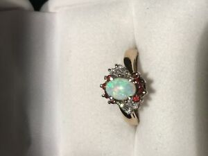Women's New Opal & Garnet Gold Ring