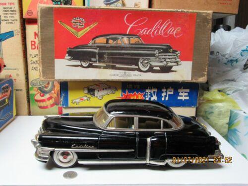 "CADILLAC 1951 HARDTOP SEDAN TIN CAR IN BOX FRICTION MARUSAN KOSUGE 12.5"" x5"" EXC"