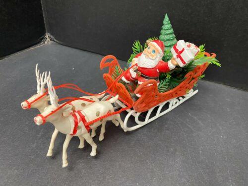"Vintage Flocked Sleigh Santa Claus 2 Reindeer 12"" Christmas Decoration Plastic"