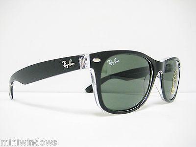 new Ray Ban Wayfarer Sunglasses Top Black on Transparent/Green 55mm RB2132 (Rb2132 New Wayfarer)