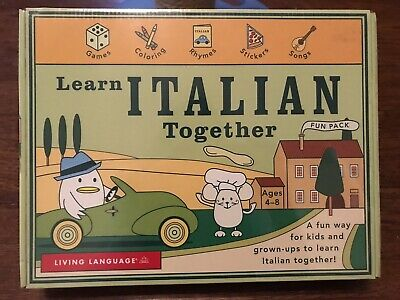Learn Italian Together Audio Cds, Books, Stickers/ Crayons Pack- Living Language