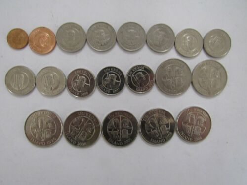 Lot of 20 Different Iceland Coins - 1981 to 2011 - Circulated & BU