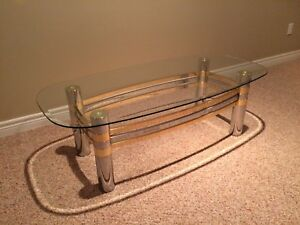 * GLASS & METAL COFFEE TABLE *