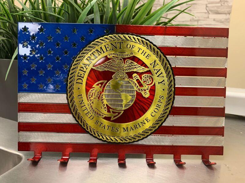 Flag United States Marines Keychain Holder America