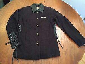 Ladies Harley Davidson Small Black Cotton w Leather Coat