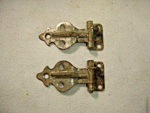 "Salvage ~Antique ~ Pair Nickel over Steel Ice Box Hinges 3/8"" Off Set~ 1558"