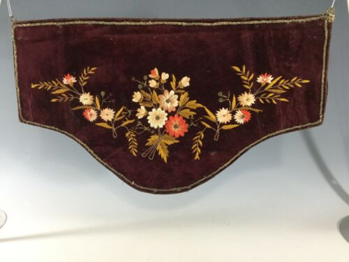 Victorian Burgundy Silk Velvet Embroidered Valance~ Must see