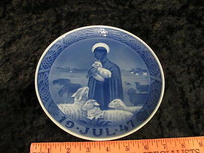 1947 ROYAL COPENHAGEN Annual Christmas Plate THE GOOD SHEPHARD Denmark Sheep 1ST