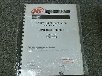 Ingersoll Rand P185wir Xp185wir Air Compressor Parts Operator Maintenance Manual