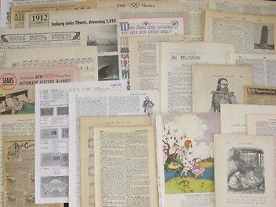100!Vtg&Antique Book Page~Paper Craft Lot~Scrapbook,Collage Art,Junk Journal Mix