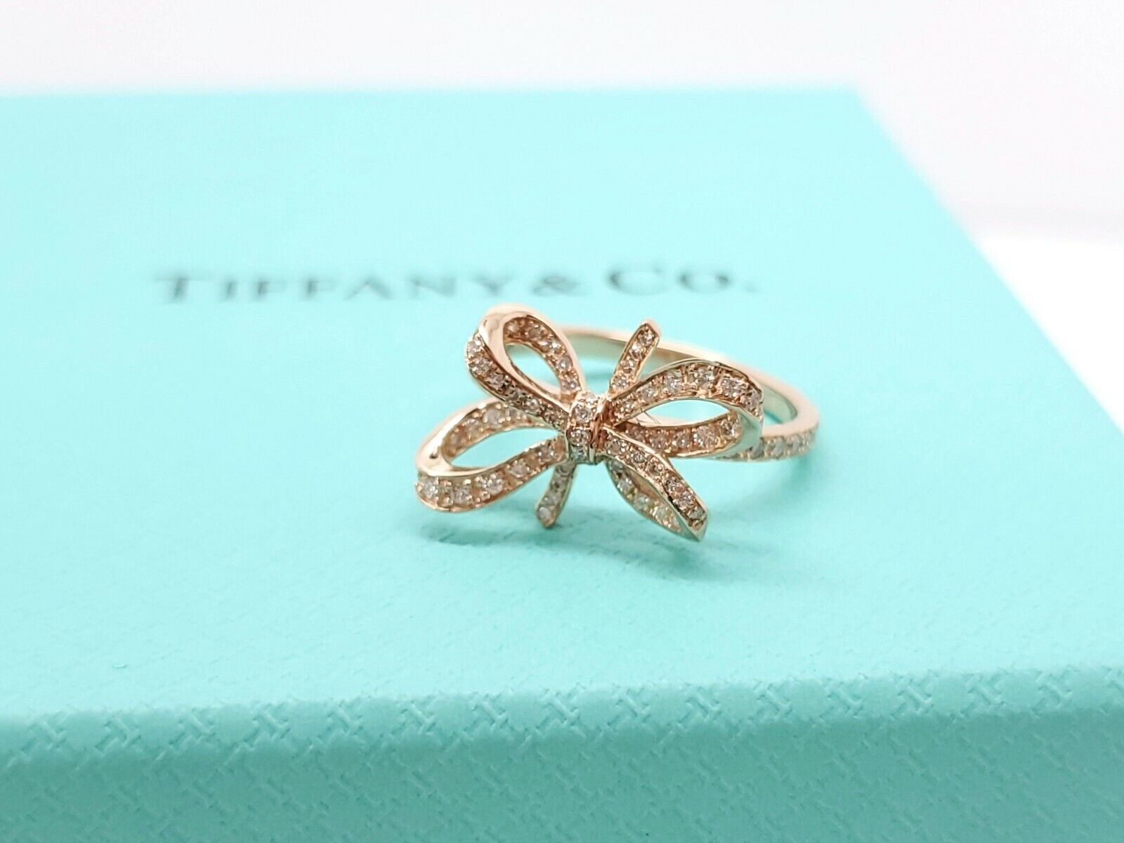 Tiffany & Co Bow Ribbon Rose Pink Gold 750 18k Diamond Ring Size 5.75 AUCTION