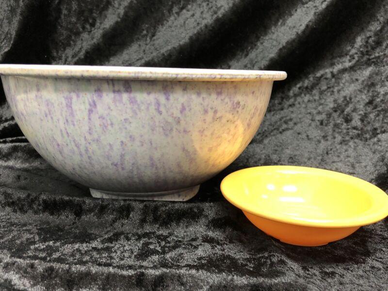 Vintage Texas Ware Bowl # 118 Confetti Splatter Light Purple & 110 Yellow Bowl