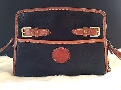 Vintage Dooney & Bourke AWL Twin Buckle Zip Top Black & Tan Shoulder Bag Purse