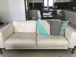x3 Quality white leather sofas (2.5 seater) Bexley Rockdale Area Preview