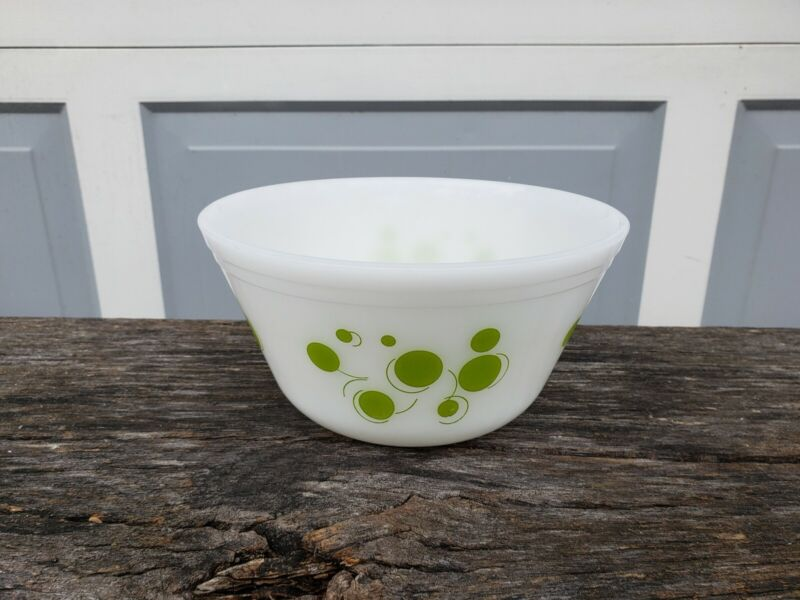 "Vintage Federal Milk Glass 8"" Mixing Bowl Green Atomic Polka Dot"