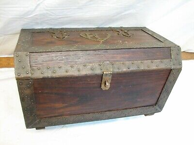 Set of 3 Dark Wood Mini Treasure Chests Storage Gift Box Ornate Craft Decoupage