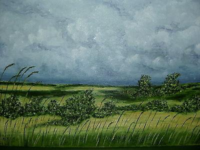 Original Ölgemälde *Heide Landschaft Wolken mit Rahmen Bild Leinwand *KEIN Druck