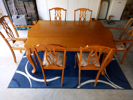 Antique silky oak dining setting