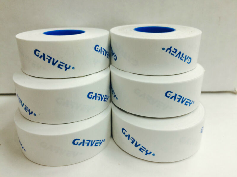 GENUINE GARVEY LABELS FOR PRICE GUN 22-6  22-7  22-8  White 6 ROLLS 1 INK ROLL