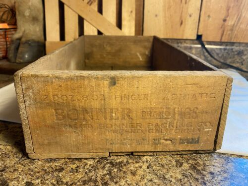Vintage Bonner Brand Figs Advertising Wooden Box Crate