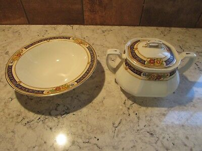 Vtg W. H. Grindley & Co. England Covered Sugar Bowl w/Matching Small Bowl