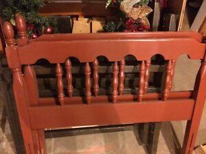 Wooden single bed frame.