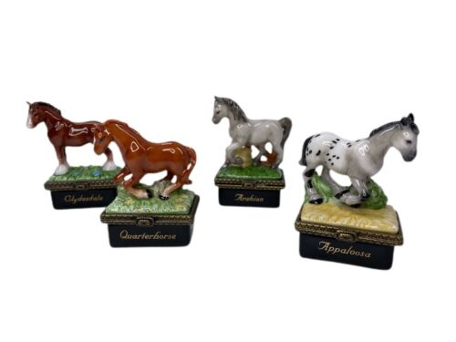 LOT OF 4 PHB MIDWEST OF CANNON FALLS PORCELAIN HINGED HORSE TRINKET BOXES