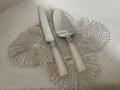 SET 2 SERVING PIECES Vintage CAKE SERVER & KNIFE silverplate: PEARLIZED handle: