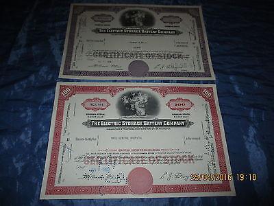 207 : Wertpapier / Aktie  USA ,ELECTRIC Storage Battery , Januar 1962 + Mai 1966
