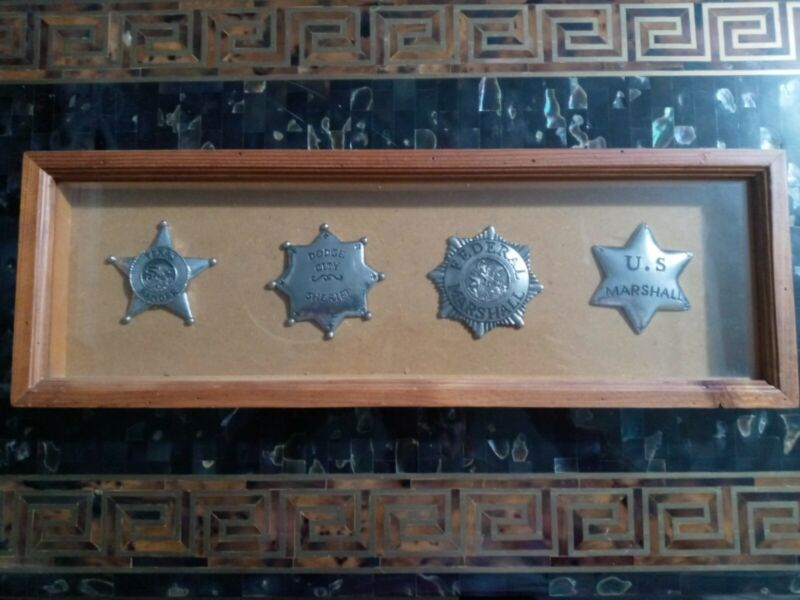 4 Antique replica Badges of antique badges. texas ranger, dodge city us marshall