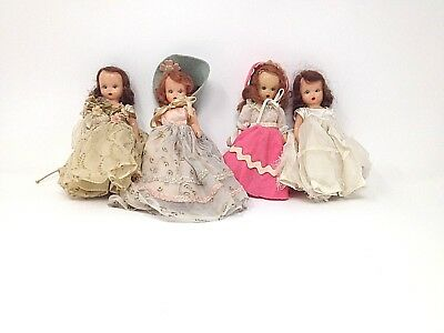 """LOT OF 4 STORY BOOK DOLL 5 1/2"""" DOLLS"""