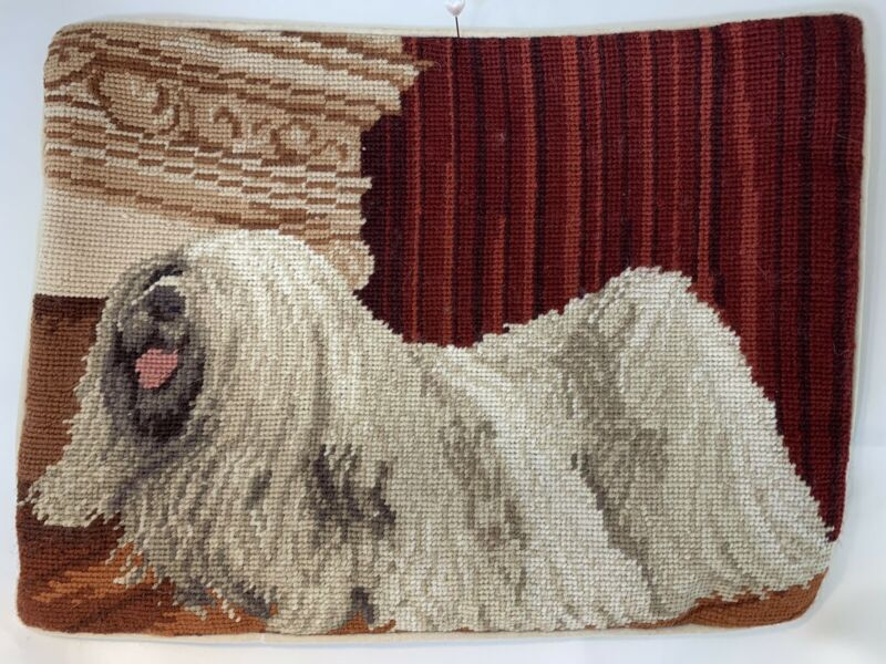 Lhasa Apso Dog Needlepoint Pillowcase Rectangle Velveteen Back w/Zipper RARE