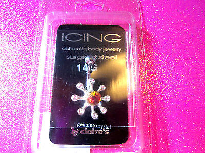 Surgical Steel Belly Button Body Jewelry Crystal Prism Flower 14g