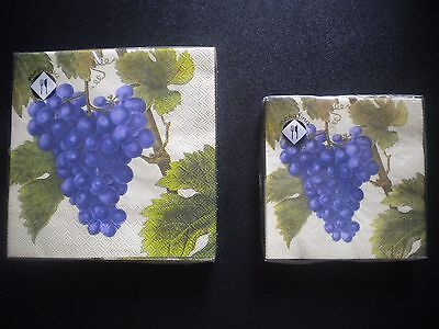 Mesafina Napkins Purple Grapes Cocktail or Luncheon Size 3 PLY Germany Vines (Purple Cocktail Napkins)