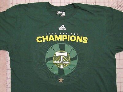 TIMBERS 2015 MLS CUP Champions T-SHIRT Mens XL Portland Soccer Adidas Green EUC