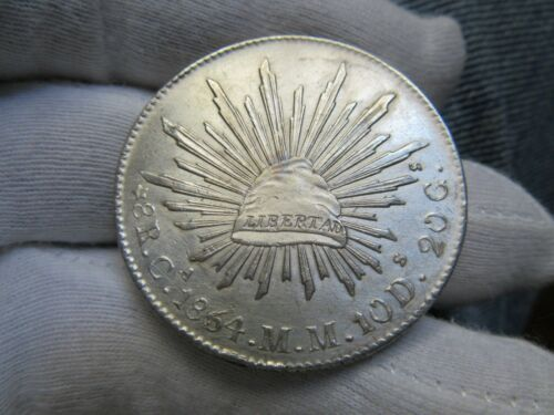 1864 MEXICO CHIHUAHUA 8 REALES SILVER COIN *RARE