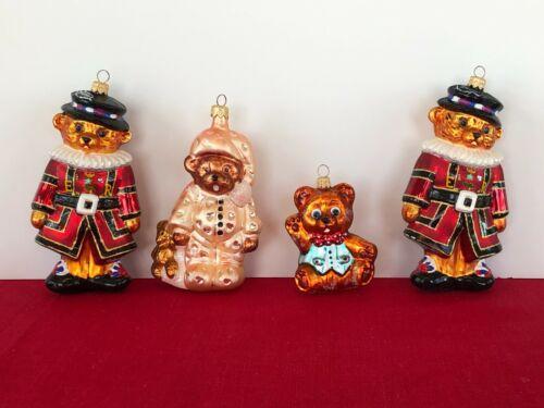 Retired Christopher Radko Bear Group of 4 Handblown Ornaments