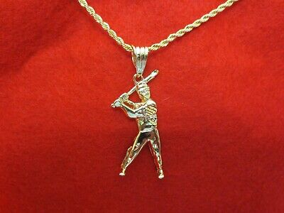 Player Charm 14kt Gold Jewelry - 14KT GOLD EP BASEBALL PLAYER & BAT 2 1/2
