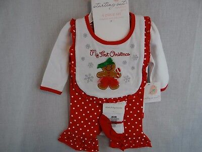 New Baby Girls Starting Out My First Christmas 4pc Outfit Gingerbread Man NWT - Men Christmas Outfit