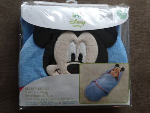 Disney Baby Mickey Mouse Bathtime Wrap-100 Percent Cotton-0-6 Months-New In Pkg