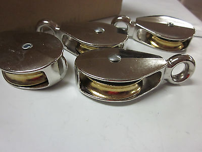 4pc 2 X 716 Single Wheel Brass Sheave Die-cast Chrome Pulley Rope Wire